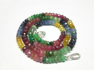 Aaa Ruby,Emerald,Sapphire Multi Precious Faceted Rondelle Loose Gemstone Beads