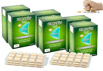Nicorette Chewing Gum Orginal 2mg Quantity 210 Pieces- Pack of 6