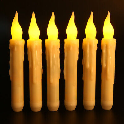 12Pcs Halloween Flameless LED Taper Candles Lights Battery Operated Floating Wax