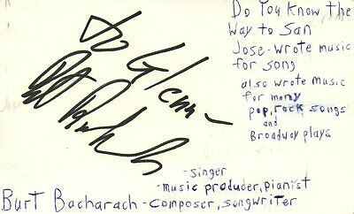 Burt Bacharach Singer Composer Producer Music Autographed Signed Index Card