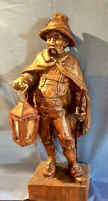 Large antique Swiss /Black-Forest looking Wooden carved figure of Night watchman