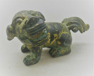 Very Interesting Ancient Near Eastern Bronze Beast Statue With Gold Gilt