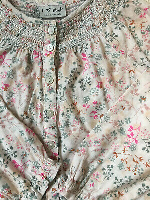 Girls Next Liberty Print Blouse Age 4-5 With Smocking Excellent Condition