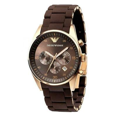 NEW Emporio Armani AR5890 Rose Gold and Brown Silicone Men's Chronograph Watch