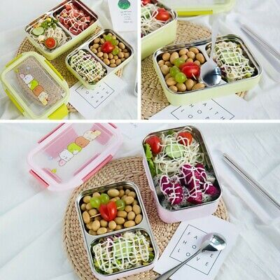 2-Layer Stainless Steel Thermal Insulated Lunch Box Food Picnic Bento Bag Case