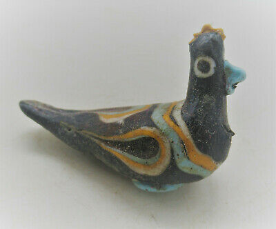 Ancient Phoenician Mosiac Glass Bird Bead Statue Circa 500Bc