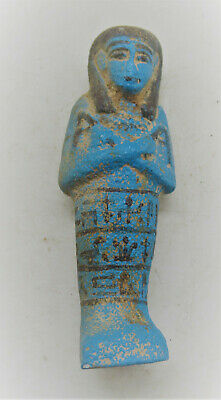 Circa 664-332Bce Ancient Egyptian Glazed Faience Ushabti Shabti With Heiroglyphs