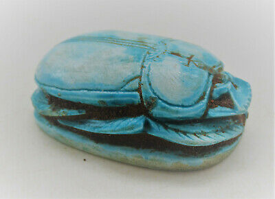 Beautiful Ancient Egyptian Glazed Scarab With Heiroglyphics Large Size