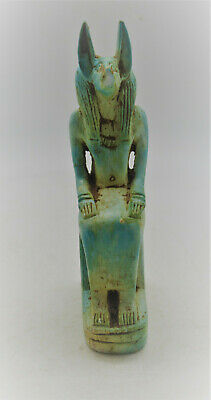 Superb Vintage Egyptian Stone Carved Statuette Seated Anubis