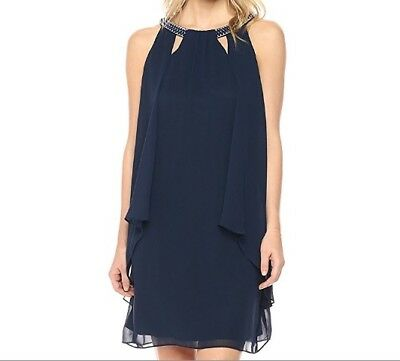 NEW SL Fashions Women's Chain Neck Cut Out Dress Size 14 Navy Blue NWT