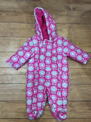 Girls Pink Padded Fleece Lined Hooded Snowsuit Blue Zoo 3-6 Months