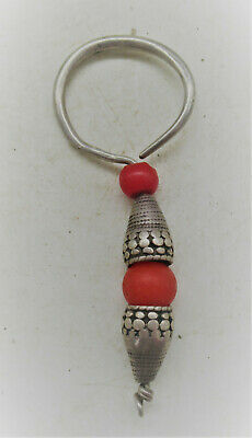 Old Antique Tibetan Silver Earring With Red Stones