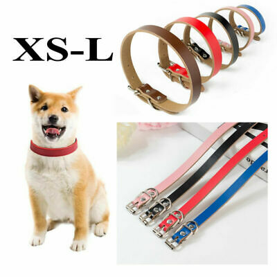 XS/S/M/L Real leather Pet Puppy dog Cat collars Strong Necklace Neck Collars UK