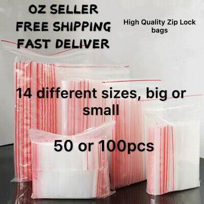 50 or 100 Pcs 14 diffenent Sizes Zip Lock Plastic Bags Resealable Zipper A4 NEW