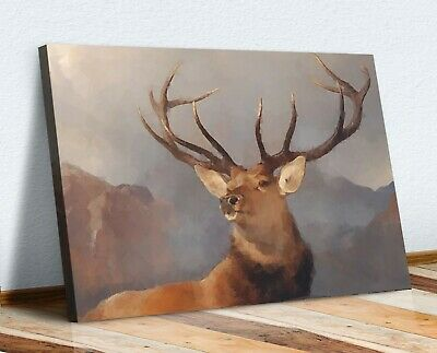 Deer Stag Framed Canvas Wall Art Print Artwork  Picture Geometric