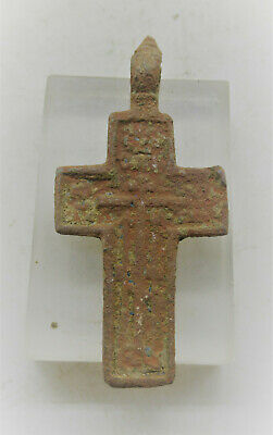 Lovely Post Medieval Bronze Crucifix Christian Cross Amulet