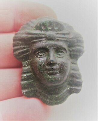 Circa 300Ad Ancient Roman Bronze Casket Fitting Face Of Senatorial Figure