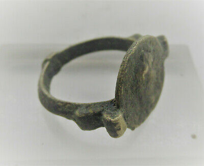 Lovely Old Bronze Ring With Portrait Of Roman Emperor On Bezel