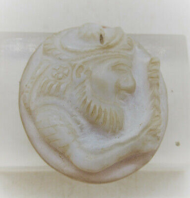 Beautiful Ancient Sasanian Agate Stone Intaglio Pendant Ruler Depiction