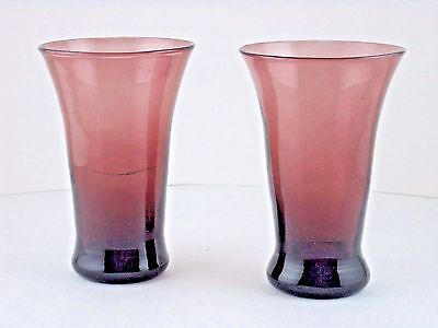 """Amethyst Glass Hand Blown Tumblers Flared Lip Weighted Base 2pcs 5.75"""" T"""