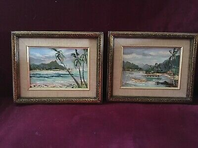Vintage Viki Snyder Oil Paintings On Canvas Framed Oahu Diamond Head Kaneohe '82