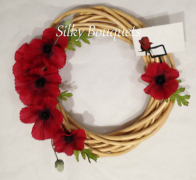 Poppy Wreath Artificial Silk Flower Remembrance Day Wicker Ring Memorial Tribute