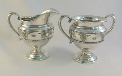 Rose Point by Wallace 4640-9 Sterling Creamer & Sugar Bowl-4""