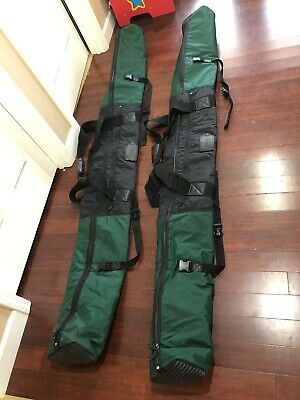 """2 - Padded Ski Travel Carrying Duffel Tote Bag LANDS END Snowboard Green 85"""""""