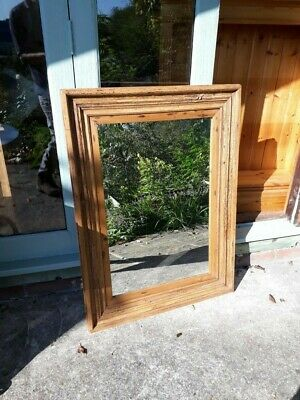 Antique Victorian Solid Oak Rustic Frame Mirror