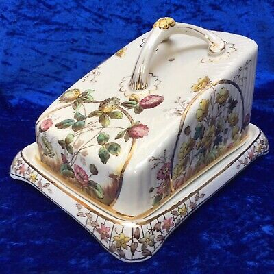 Large Antique Victorian Aesthetic Movement 'Buttercups' Cheese Dish c.1880's VGC