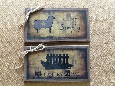 5 PRiM Wooden COUNTRY Hang Tags/Ornaments HANDCRAFTED Live Simply/Old Crow Set1X