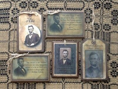**NEW** 5 Handcrafted ABE LINCOLN Quotes & Portraits Hang Tags/Ornaments SET55