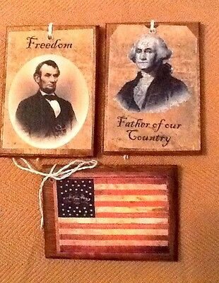5 Handcrafted Wooden ABE LINCOLN/GEORGE WASHINGTON Hang Tags & Ornaments SETw
