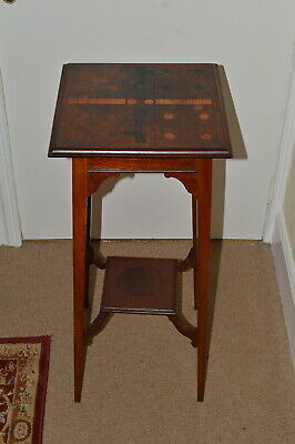Vintage Inlayed Arts And Crafts Tall Plant/Display Stand