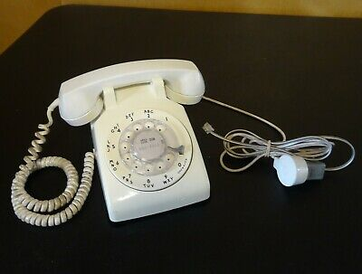 Vintage White Ivory Western Electric Bell System Rotary Dial Desk Phone - Works
