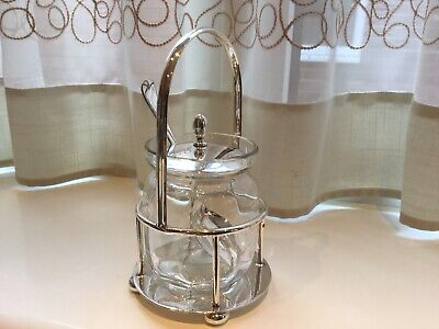 Lovely Antique Thomas Wilkinson Silver Plated And Glass Preserve Pot And Spoon