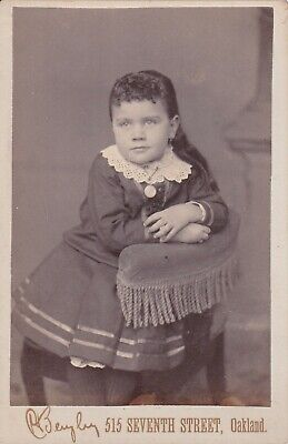 Cabinet Card Little Girl Curly Bangs,Earrings,Large Charm Necklace,Oakland,Cal