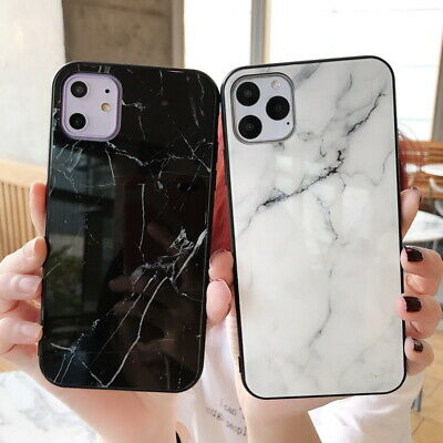 For iPhone 11 Pro Max XS XR X 8 7 6s Plus Marble Tempered Glass Hard Case Cover