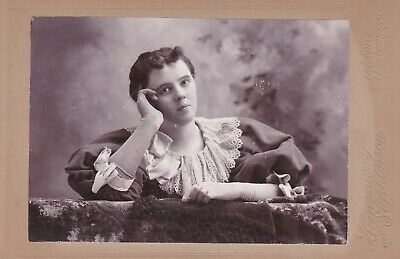 Cabinet Card Winters Cal,Lady Large Puff Sleeves,Gloves,Bows,Lace Collar,Bangs
