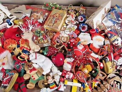 Vintage Christmas Kitschy Craft Lot Mercury Glass Flocked Wood Plastic MCM>2.5lb