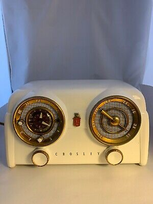 Crosley Radio Vintage 1951 White D-25WE  Works!!