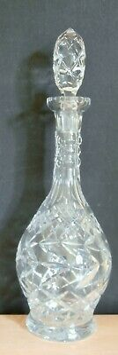 """Vintage Mid-Century Heavy Cut Crystal Decanter 15"""" Tall Pineapple Cut Stopper"""
