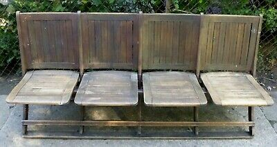 Vintage wood Theater Seats  Foldable Row of 4 1920's ?