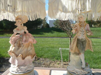French Provincial Porcelain Figurine Table Lamps Lady Man PINK Capodimonte