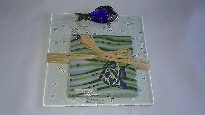 Mud Pie FISH  Cheese And NAPKIN Plate