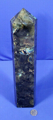 5.4Lb A++ Beautiful Natural Labradorite Obelisk Crystal Wand Point Healing