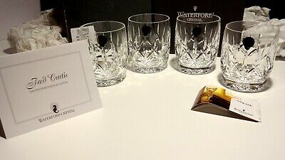 4 NIB WATERFORD CRYSTAL WESTHAMPTON DOF TUMBLER GLASSES SIGNED by FRED CURTIS