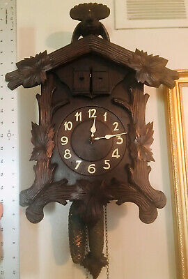 Antique Black Forest Cuckoo Clock 1800s Carved Human Faces Wooden Plate Movement