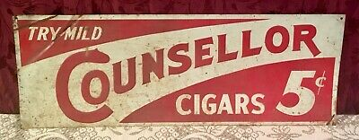 Rare 1930's Counsellor Cigars Embossed Metal Sign