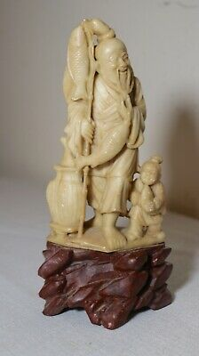 antique hand carved Chinese Shoushan stone fisherman w/ boy sculpture statue